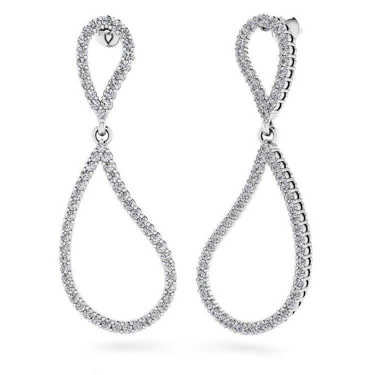 Curvy Diamond Dangle Earrings in White Gold | 01