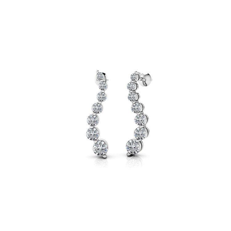 Curvy Diamond Drop Earrings in White Gold (1 ctw) | 01