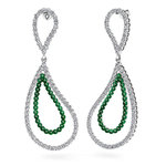 Curvy Diamond & Emerald Link Earrings in White Gold | Thumbnail 01