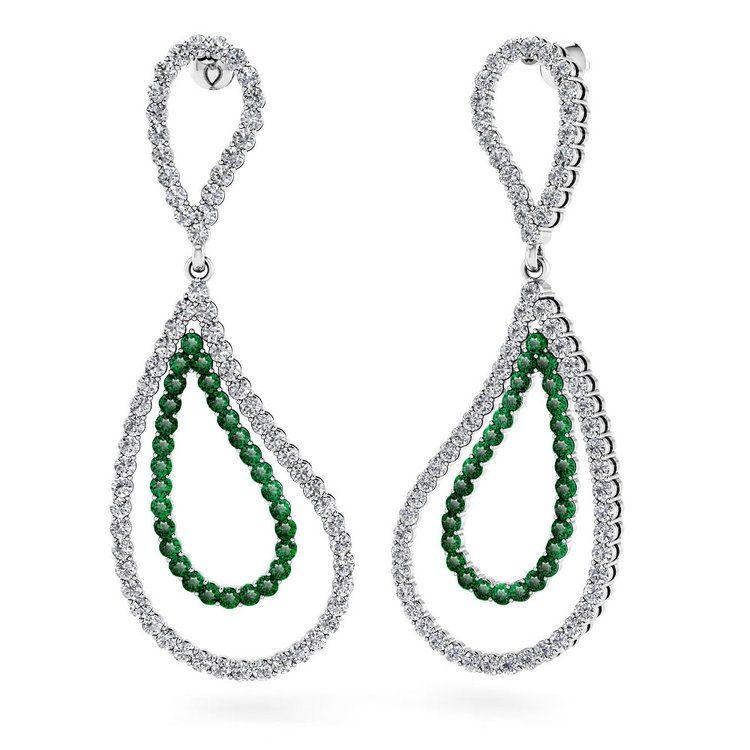Curvy Diamond & Emerald Link Earrings in White Gold | 01