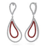 Curvy Diamond & Ruby Link Earrings in White Gold | Thumbnail 01