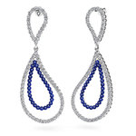 Curvy Diamond & Sapphire Link Earrings in White Gold | Thumbnail 01