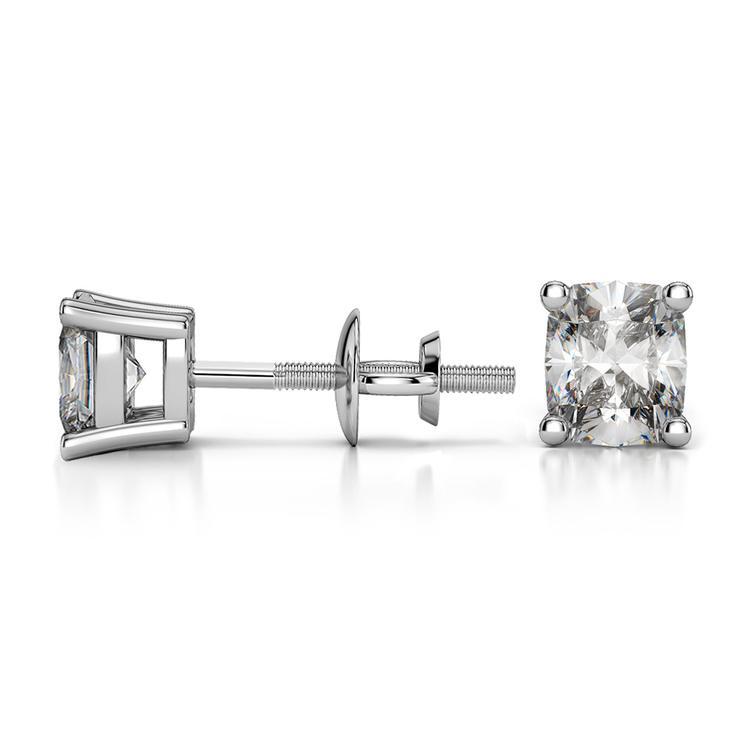 Cushion Diamond Stud Earrings in Platinum (1/2 ctw) | 03