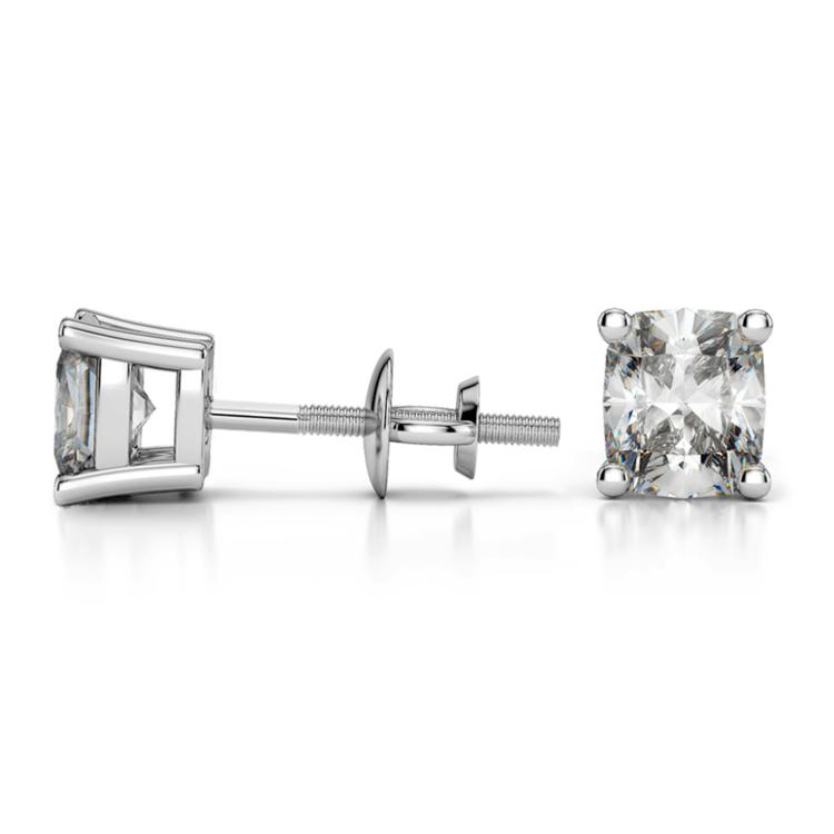 Cushion Diamond Stud Earrings in Platinum (1 ctw) | 03