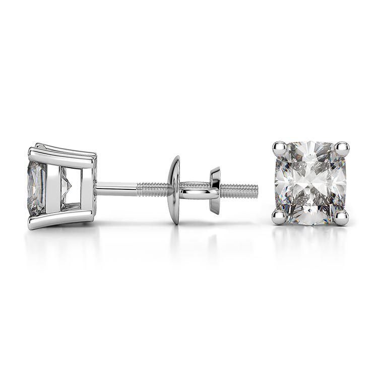 Cushion Diamond Stud Earrings in Platinum (3/4 ctw) | 03