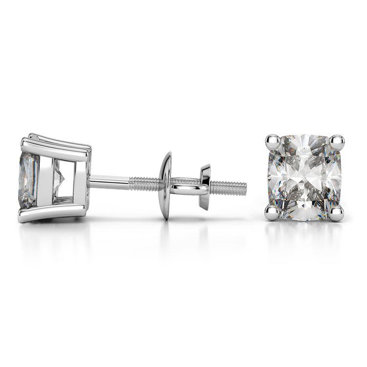 Cushion Diamond Stud Earrings in Platinum (3 ctw) | 03