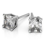 Cushion Diamond Stud Earrings in White Gold (1 ctw) | Thumbnail 01