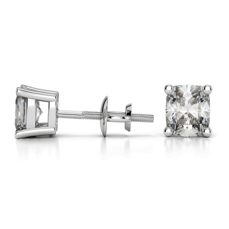 Cushion Diamond Stud Earrings in White Gold (1 ctw) | 03