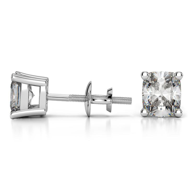 Cushion Diamond Stud Earrings in White Gold (2 ctw) | 03