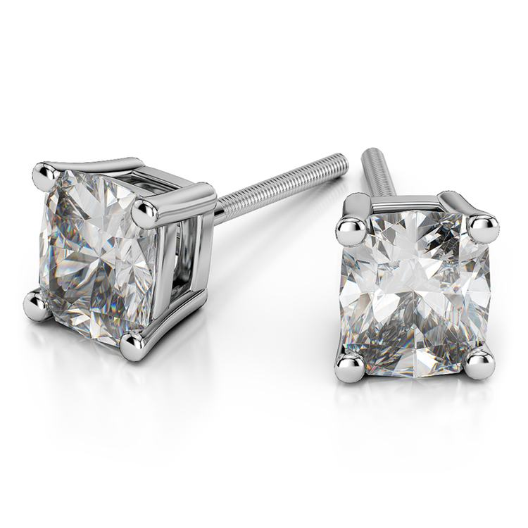 Cushion Diamond Stud Earrings in White Gold (3/4 ctw) | 01
