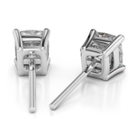 Cushion Diamond Stud Earrings in White Gold (3 ctw) | Thumbnail 01