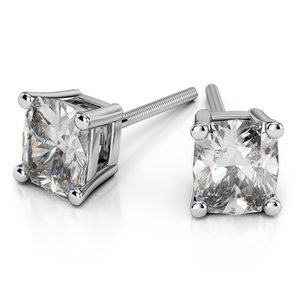 Cushion Diamond Stud Earrings in White Gold (3 ctw)