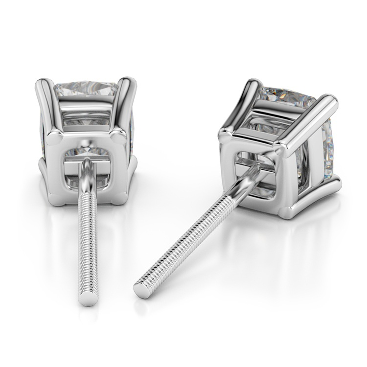 Cushion Diamond Stud Earrings in White Gold (4 ctw) | 02