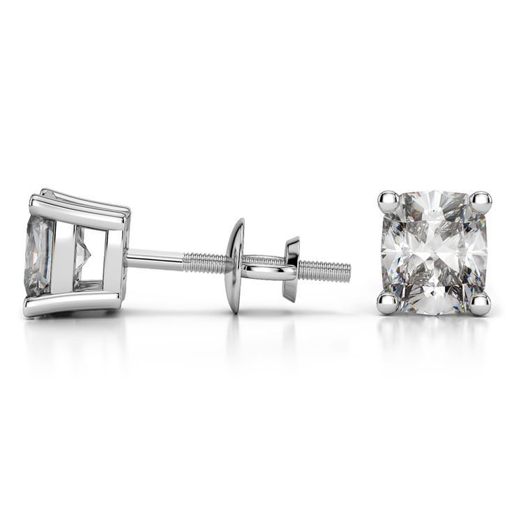 Cushion Diamond Stud Earrings in White Gold (4 ctw) | 03