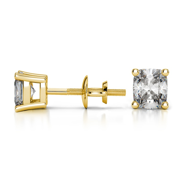 Cushion Diamond Stud Earrings in Yellow Gold (1/2 ctw) | 03
