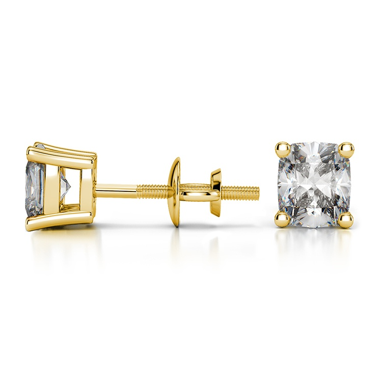 Cushion Diamond Stud Earrings in Yellow Gold (1 ctw) | 03