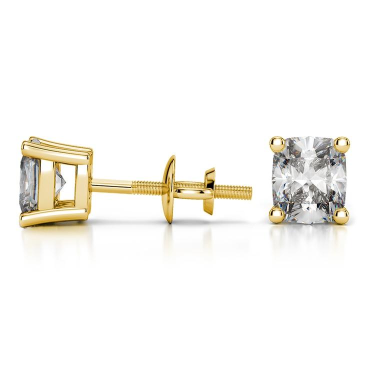 Cushion Diamond Stud Earrings in Yellow Gold (2 ctw) | 03