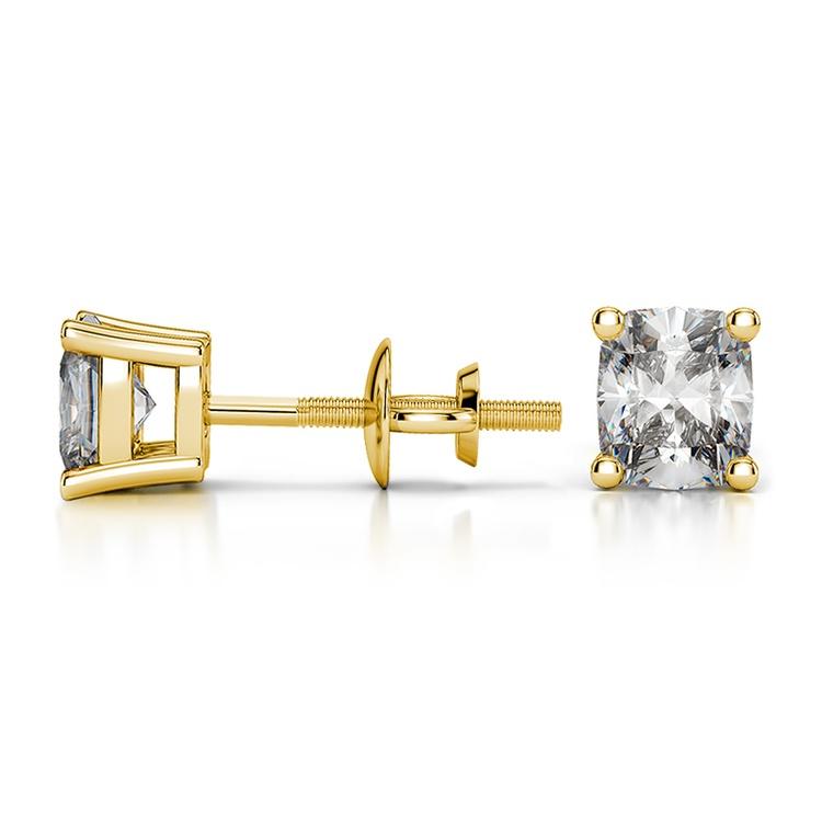 Cushion Diamond Stud Earrings in Yellow Gold (3/4 ctw) | 03