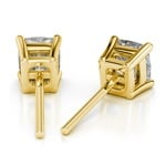 Cushion Diamond Stud Earrings in Yellow Gold (3 ctw) | Thumbnail 01