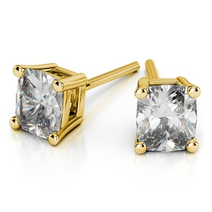 Cushion Diamond Stud Earrings in Yellow Gold (3 ctw)