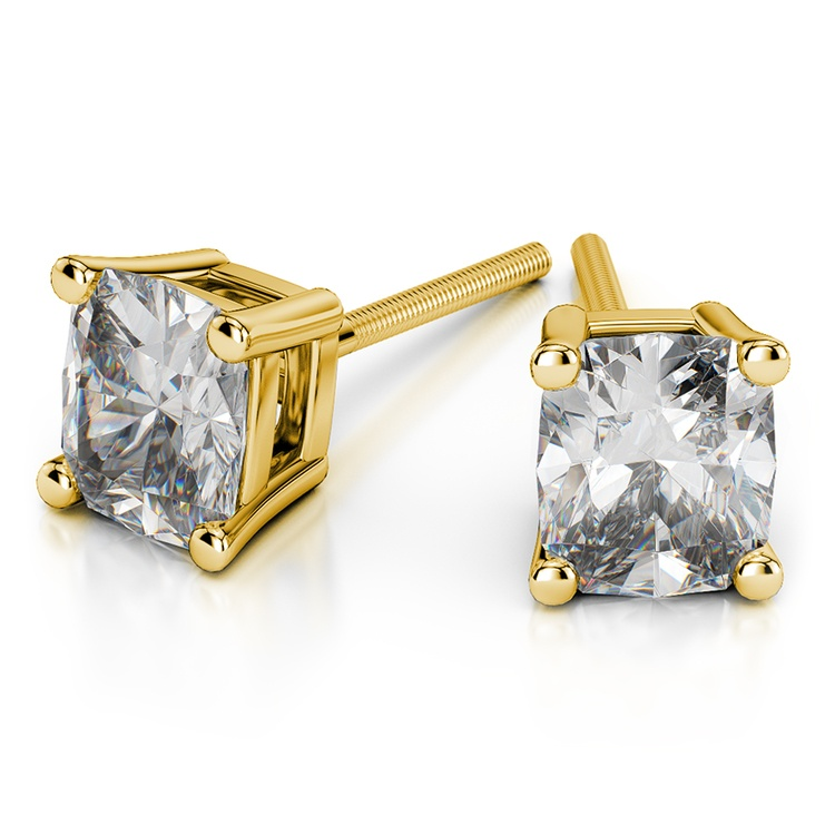 Cushion Diamond Stud Earrings in Yellow Gold (3 ctw) | 01