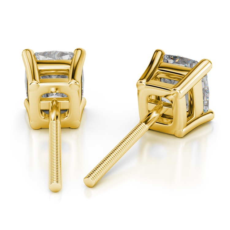 Cushion Diamond Stud Earrings in Yellow Gold (3 ctw) | 02