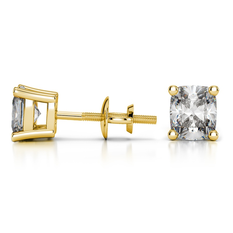 Cushion Diamond Stud Earrings in Yellow Gold (3 ctw) | 03