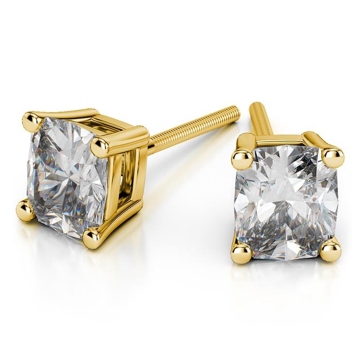 Cushion Diamond Stud Earrings in Yellow Gold (4 ctw) | 01
