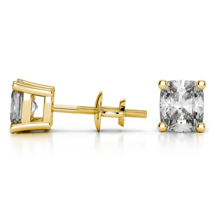 Cushion Diamond Stud Earrings in Yellow Gold (4 ctw) | 03