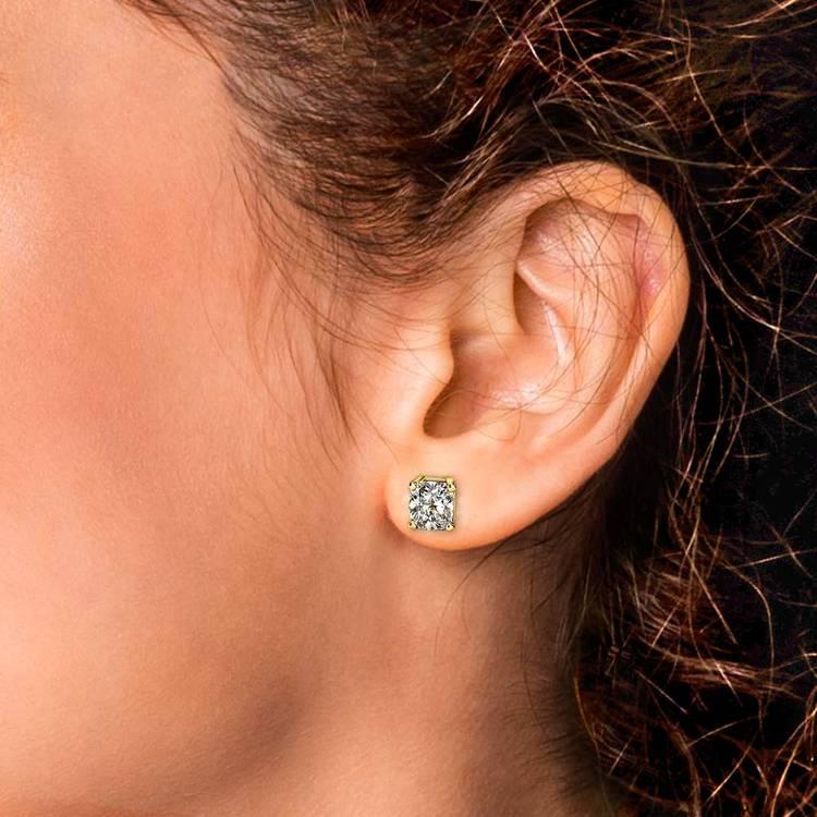 Cushion Diamond Stud Earrings in Yellow Gold (4 ctw) | 04
