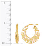Delicate Wire Filigree Hoop Earrings in Yellow Gold | Thumbnail 01