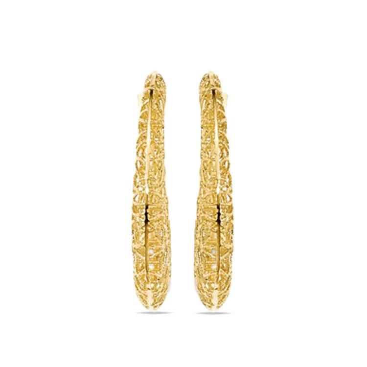 Delicate Wire Filigree Hoop Earrings in Yellow Gold | 02