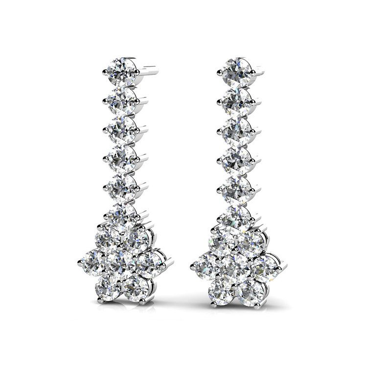 Diamond Cluster Dangle Earrings in White Gold (1 ctw) | 01