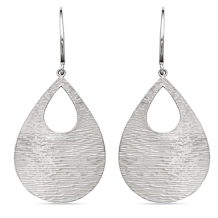 Diamond-Cut Teardrop Dangle Earrings in Silver | 01