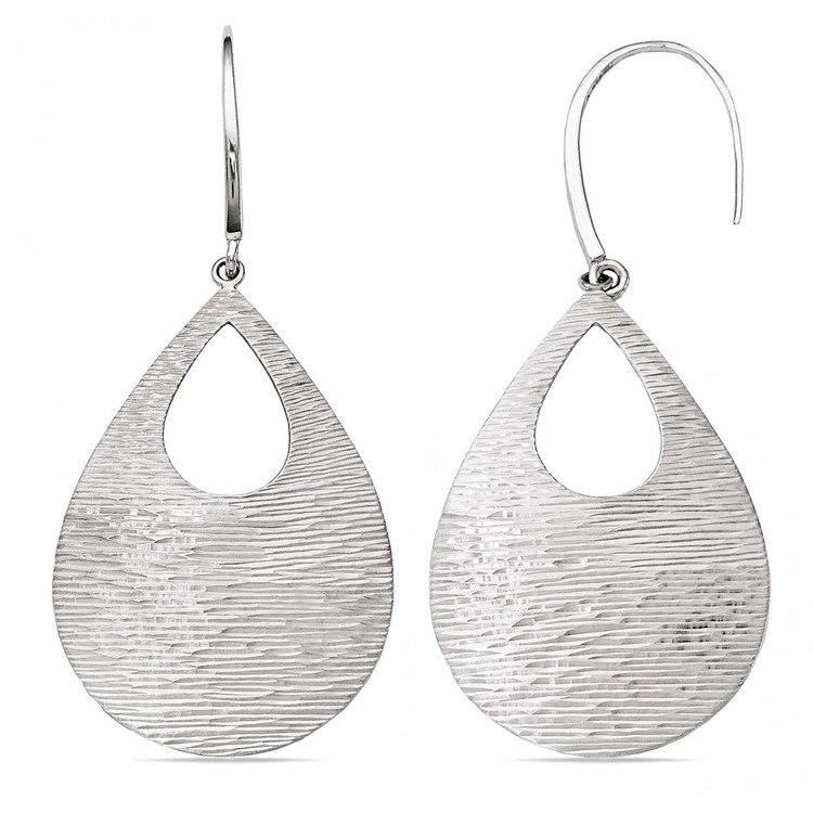 Diamond-Cut Teardrop Dangle Earrings in Silver | 02