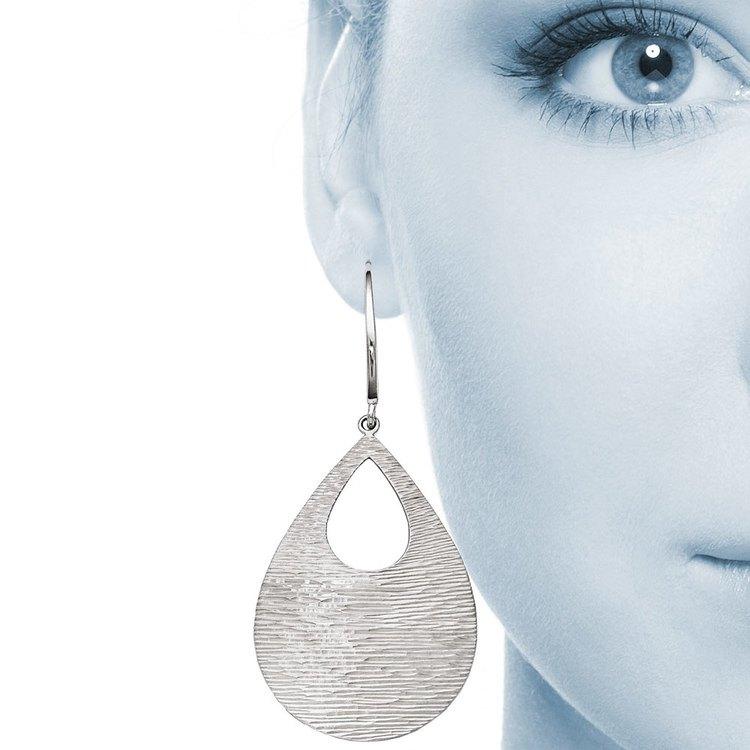 Diamond-Cut Teardrop Dangle Earrings in Silver | 04