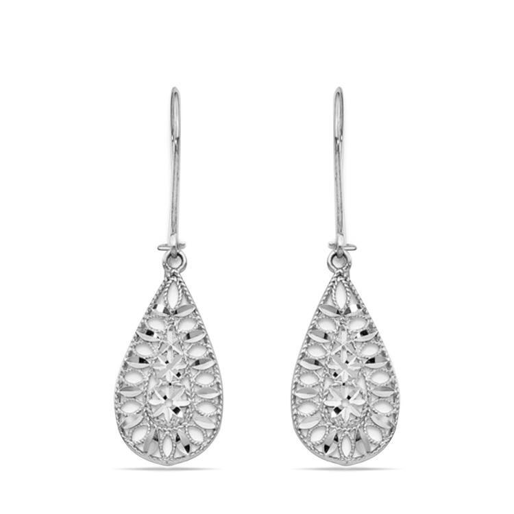 Diamond-Cut Teardrop Patterned Dangle Earrings in 14K White Gold | 01