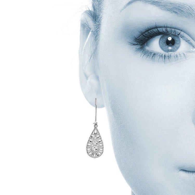 Diamond-Cut Teardrop Patterned Dangle Earrings in 14K White Gold | 04