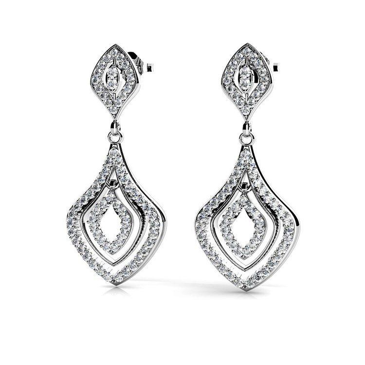 Diamond Dangle Earrings in White Gold | 01