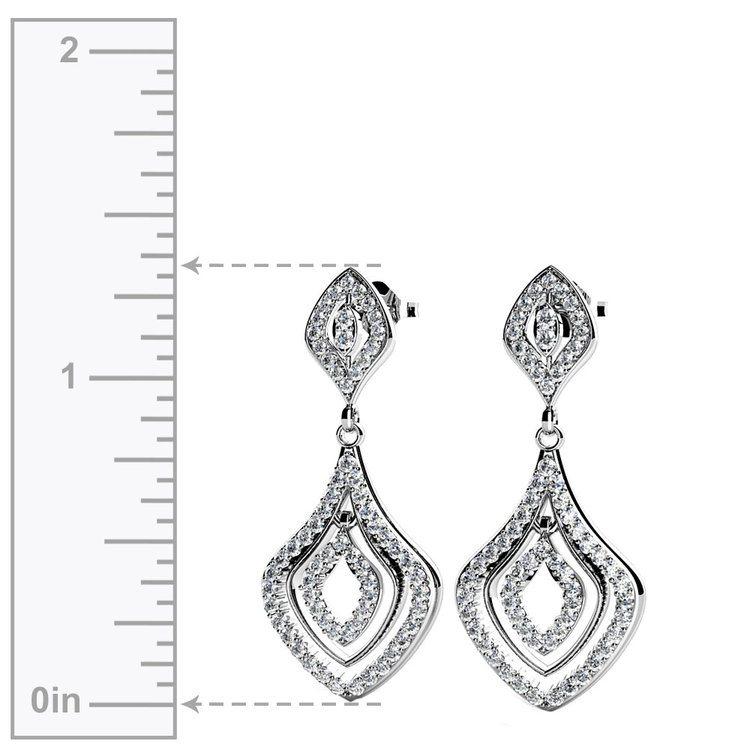 Diamond Dangle Earrings in White Gold | 02