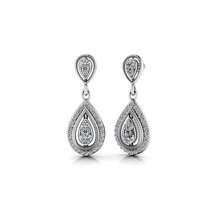 Diamond Dangle Earrings in White Gold (1 ctw) | 01