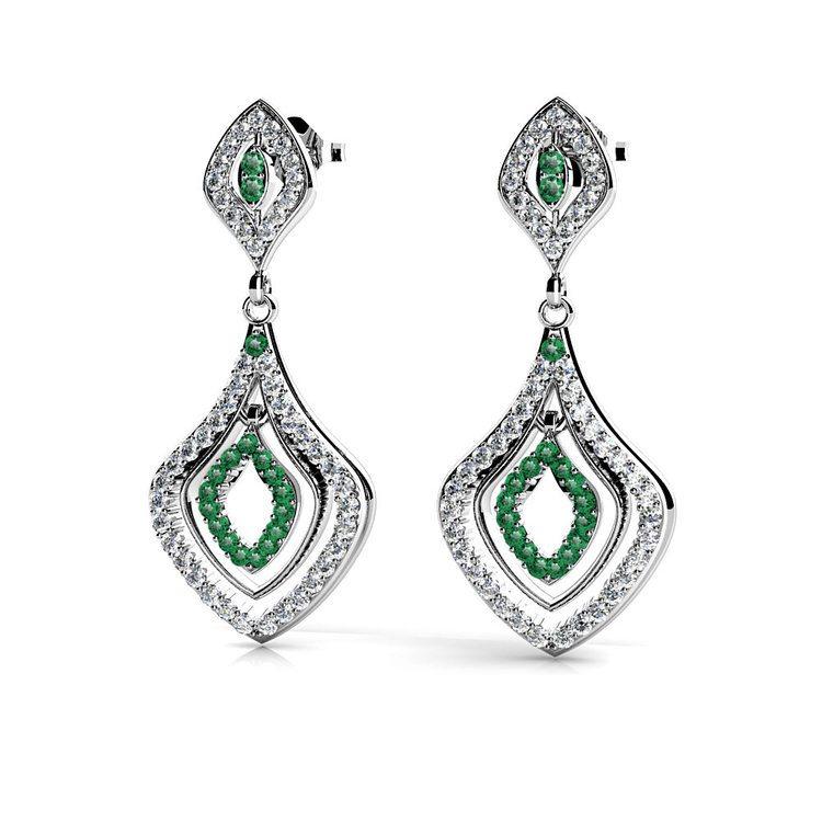 Diamond & Emerald Dangle Earrings in White Gold | 01