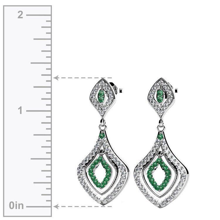 Diamond & Emerald Dangle Earrings in White Gold   02