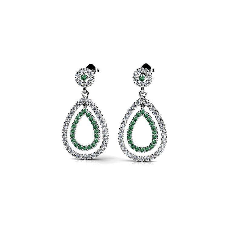 Diamond & Emerald Link Earrings in White Gold | 01