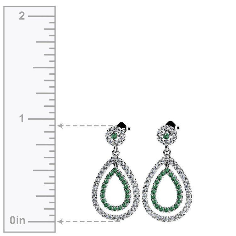 Diamond & Emerald Link Earrings in White Gold | 02
