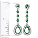 Diamond & Emerald Teardrop Earrings in White Gold | Thumbnail 01