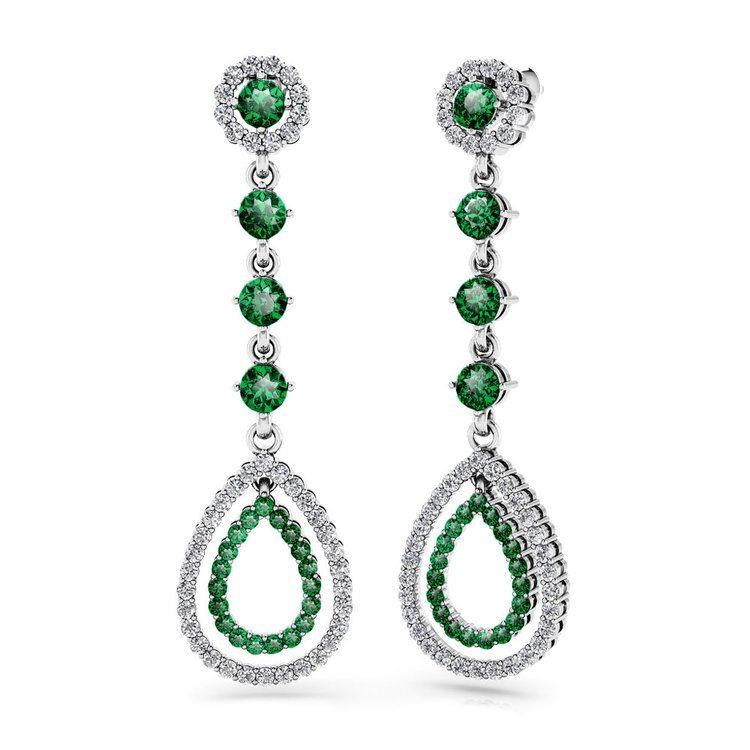 Diamond & Emerald Teardrop Earrings in White Gold | 01