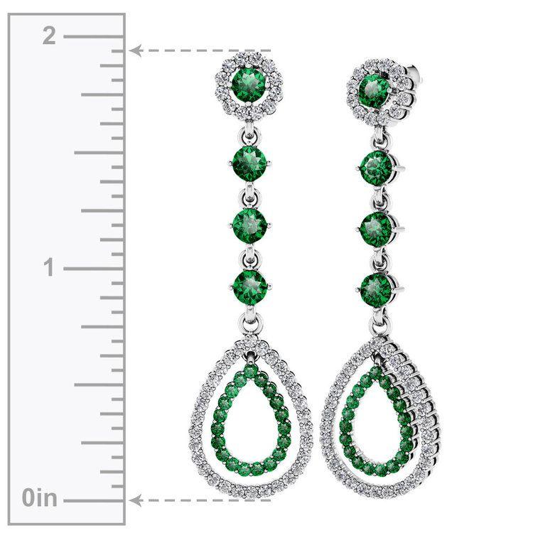 Diamond & Emerald Teardrop Earrings in White Gold | 02