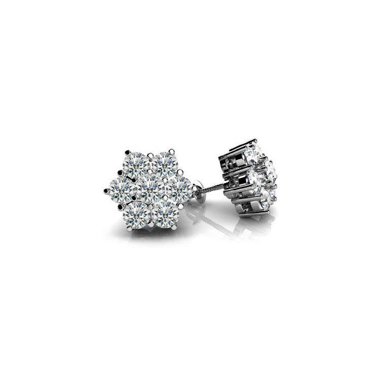Diamond Flower Earrings in White Gold | 01