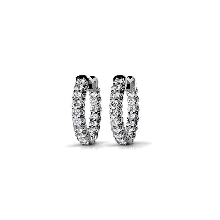 Diamond U-Prong Hoop Earrings in White Gold (1 ctw) | 01